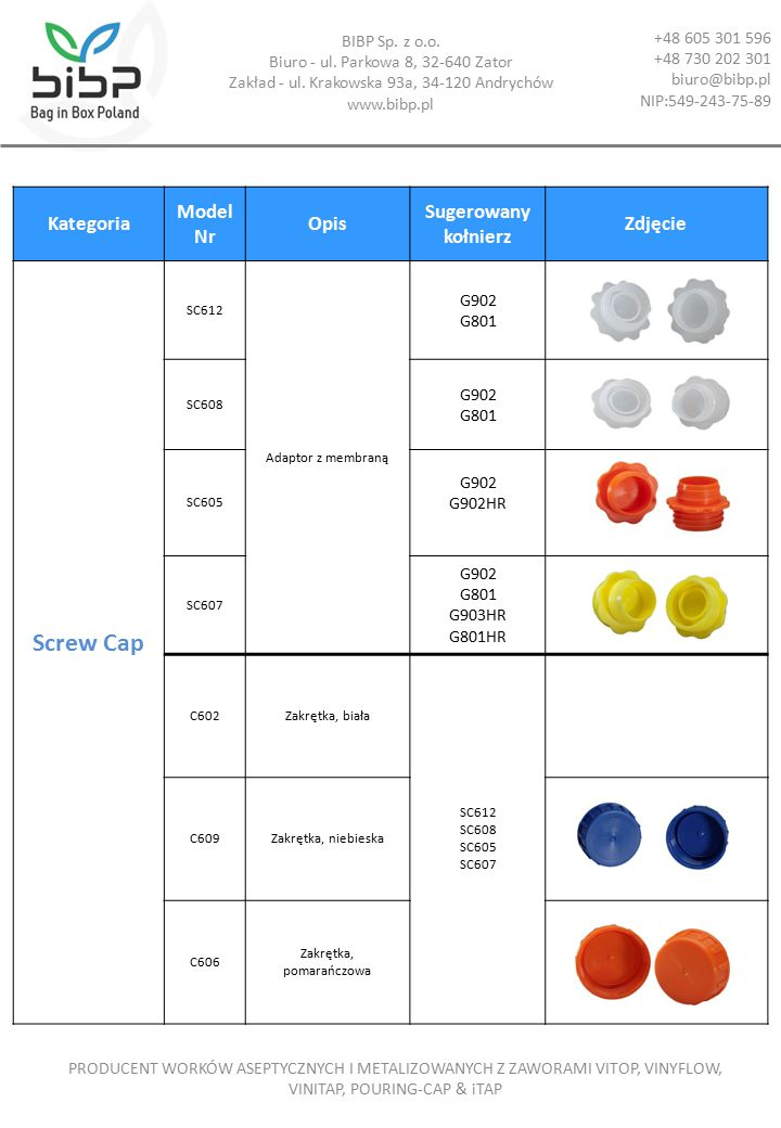 Kategoria Model Nr Opis Sugerowany kołnierz Zdjęcie Screw Cap SC612 Adaptor z membraną G902 G801 SC608 G902 G801 SC605 G902 G902HR SC607 G902 G801 G903HR G801HR C602Zakrętka, biała SC612 SC608 SC605 SC607 C609Zakrętka, niebieska C606 Zakrętka, pomarańczowa BIBP Sp.