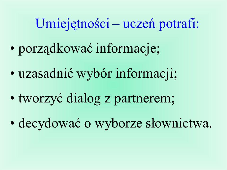 Język angielski Wiadomości – uczeń potrafi: wymienić zabytki Londynu; nazwać artykuły spożywcze; odróżnić informację prawdziwą od fałszywej; odpowiadać na pytania do tekstu.