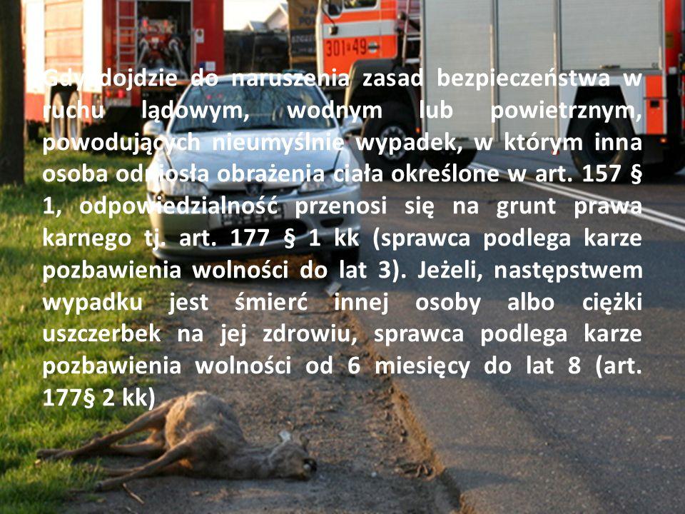 11 Gdy dojdzie do naruszenia zasad bezpieczeństwa w ruchu lądowym, wodnym lub powietrznym, powodujących nieumyślnie wypadek, w którym inna osoba odniosła obrażenia ciała określone w art.