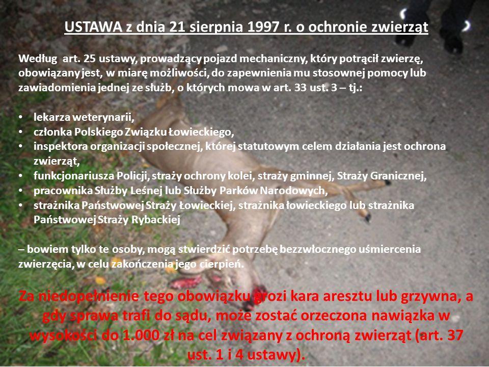 2 USTAWA z dnia 21 sierpnia 1997 r. o ochronie zwierząt Według art.