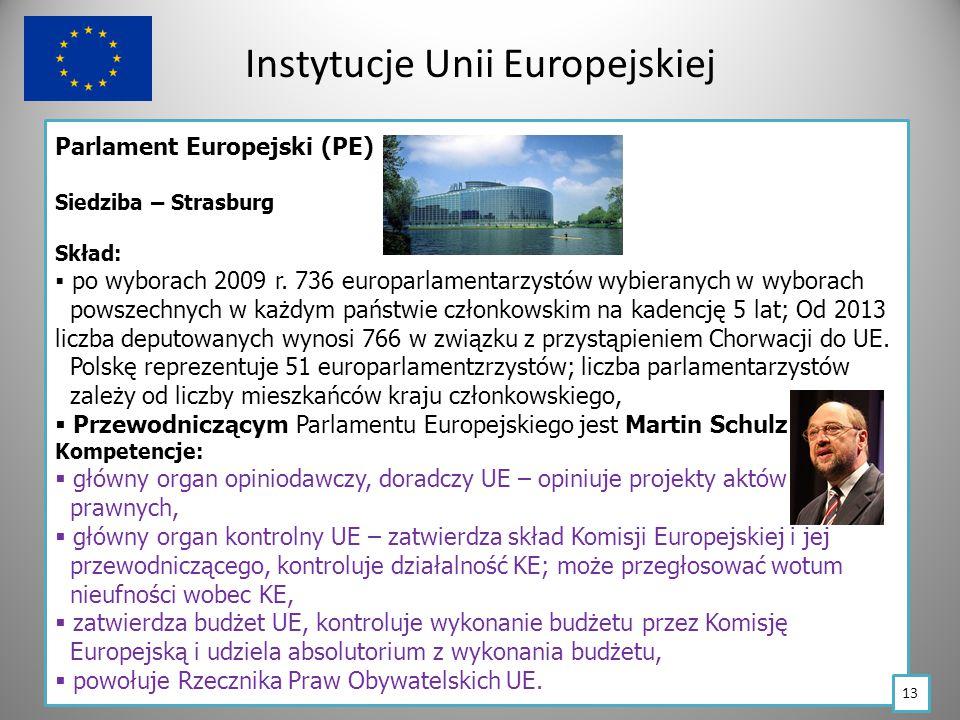Instytucje Unii Europejskiej Parlament Europejski (PE) Siedziba – Strasburg Skład:  po wyborach 2009 r.