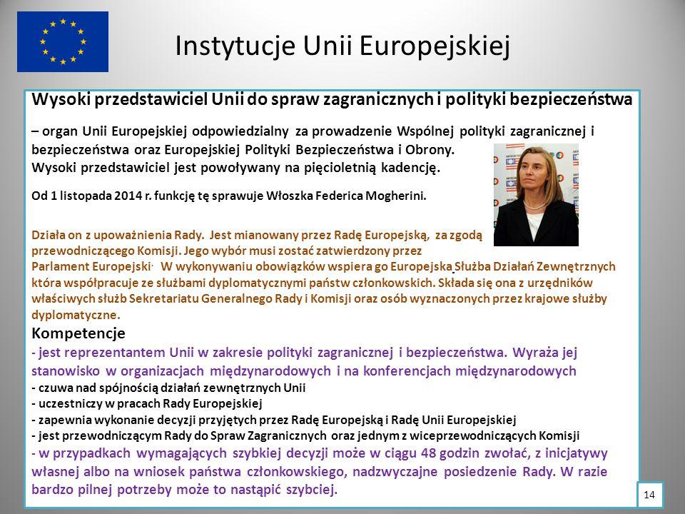 Instytucje Unii Europejskiej Wysoki przedstawiciel Unii do spraw zagranicznych i polityki bezpieczeństwa – organ Unii Europejskiej odpowiedzialny za prowadzenie Wspólnej polityki zagranicznej i bezpieczeństwa oraz Europejskiej Polityki Bezpieczeństwa i Obrony.