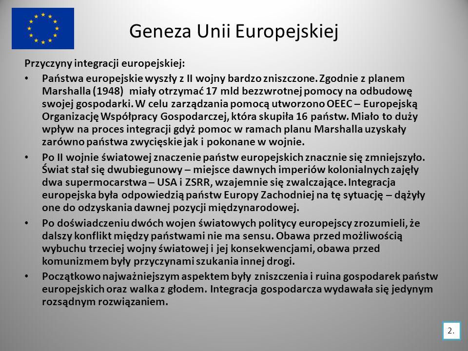 Historia integracji europejskiej 1951 traktat paryski Powstanie EWWiS Europejskiej Wspólnoty Węgla i Stali RFN, Francja, Włochy, Belgia, Holandia, Luksemburg 1957 traktaty rzymskie 1967 traktat o fuzji 1968 unia celna 1979 Powstanie EWG i EURATOM EWG – Europejska Wspólnota Gospodarcza EURATOM - Europejska Wspólnota Energii Atomowej Powstanie WE – Wspólnot Europejskich Trzy wyżej wymienione wspólnoty, połączyły swoje organy władzy Państwa WE przyjęły wspólną taryfę celną wobec państw trzecich Pierwsze bezpośrednie wybory do Parlamentu Europejskiego RFN, Francja, Włochy Belgia, Holandia, Luksemburg RFN, Francja, Włochy Belgia, Holandia, Luksemburg RFN, Francja, Włochy Belgia, Holandia, Luksemburg RFN, Francja, Włochy, Belgia, Holandia, Irlandia, Luksemburg, Wielka Brytania,Dania, RFN, Francja, Belgia, Holandia, Luksemburg Stopniowe znoszenie kontroli granicznej w ruchu osobowym między krajami 1985 układ w Schengen 3.
