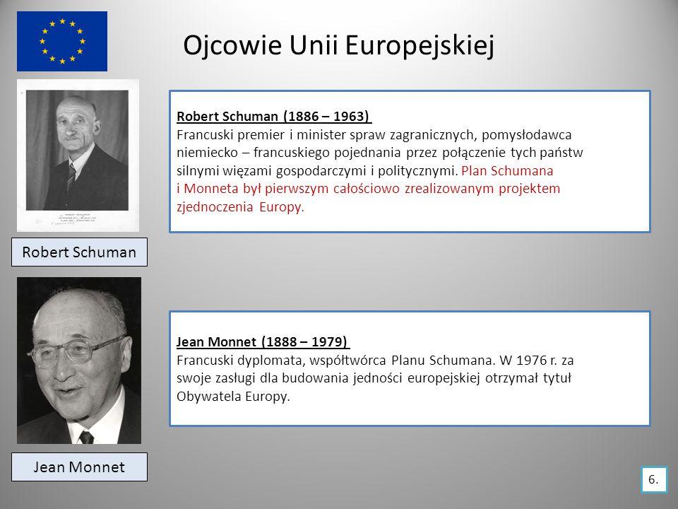 Ojcowie Unii Europejskiej Robert Schuman Robert Schuman (1886 – 1963) Francuski premier i minister spraw zagranicznych, pomysłodawca niemiecko – francuskiego pojednania przez połączenie tych państw silnymi więzami gospodarczymi i politycznymi.