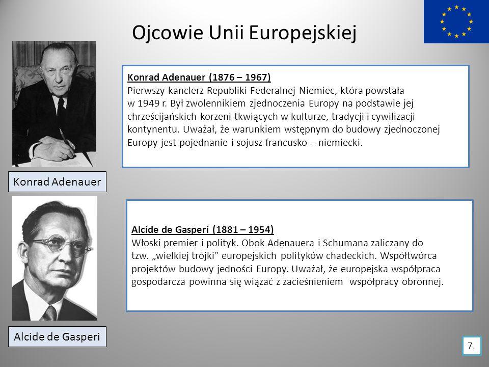 Ojcowie Unii Europejskiej Konrad Adenauer Konrad Adenauer (1876 – 1967) Pierwszy kanclerz Republiki Federalnej Niemiec, która powstała w 1949 r.