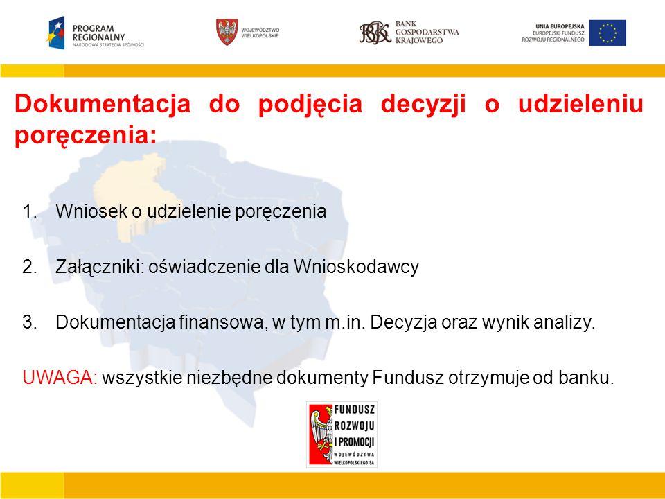 Podstawowe cechy JEREMIE  Finansowanie działalności gospodarczej mikro małego lub średniego przedsiębiorcy  Finansowanie inwestycji polegających na zakupie, budowie, modernizacji obiektów produkcyjno –usługowo – handlowych  Tworzenie nowych miejsc pracy  Wdrażanie nowych rozwiązań technicznych i technologicznych Dokumentacja do podjęcia decyzji o udzieleniu poręczenia: 1.Wniosek o udzielenie poręczenia 2.Załączniki: oświadczenie dla Wnioskodawcy 3.Dokumentacja finansowa, w tym m.in.