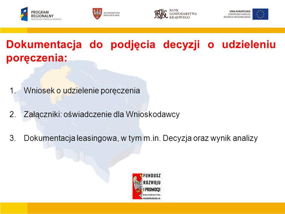 Podstawowe cechy JEREMIE  Finansowanie działalności gospodarczej mikro małego lub średniego przedsiębiorcy  Finansowanie inwestycji polegających na zakupie, budowie, modernizacji obiektów produkcyjno –usługowo – handlowych  Tworzenie nowych miejsc pracy  Wdrażanie nowych rozwiązań technicznych i technologicznych Dokumentacja do podjęcia decyzji o udzieleniu poręczenia: 1.Wniosek o udzielenie poręczenia 2.Załączniki: oświadczenie dla Wnioskodawcy 3.Dokumentacja leasingowa, w tym m.in.