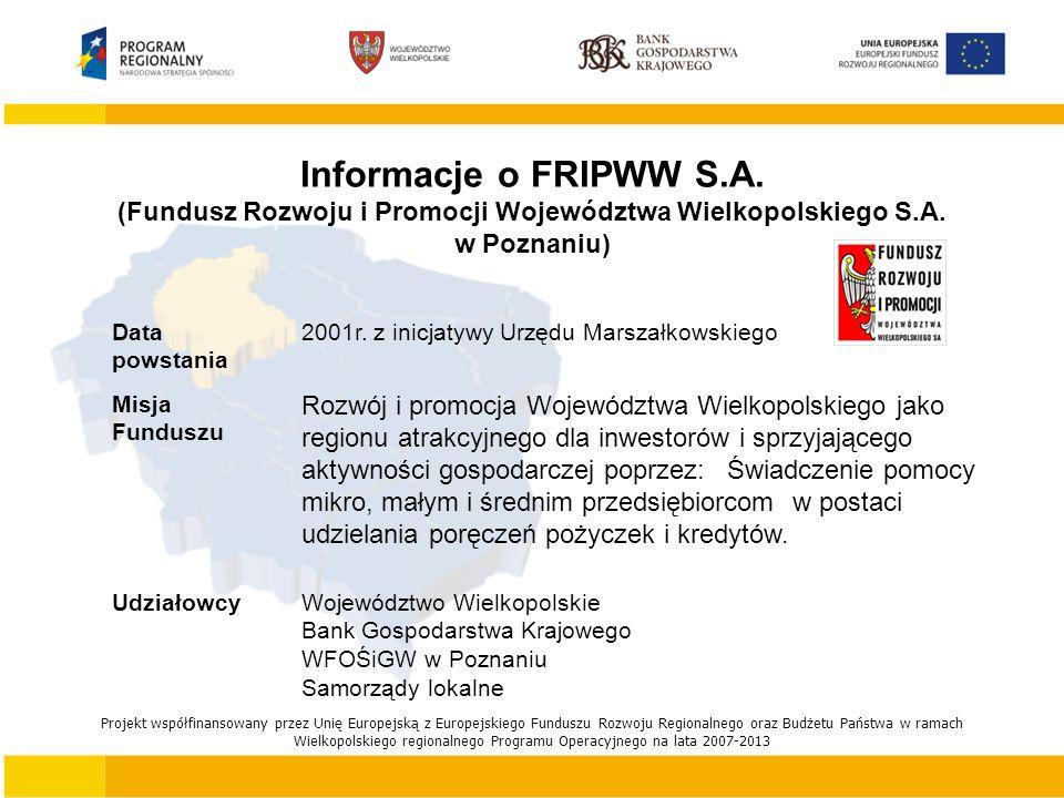 Informacje o FRIPWW S.A. (Fundusz Rozwoju i Promocji Województwa Wielkopolskiego S.A.