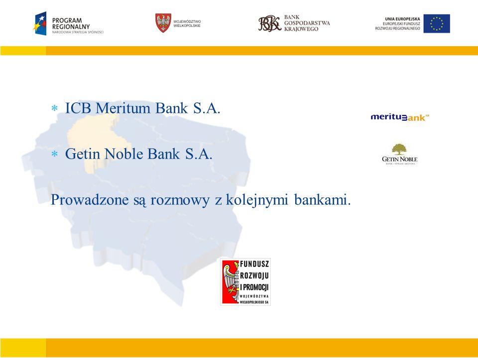 Podstawowe cechy JEREMIE  Finansowanie działalności gospodarczej mikro małego lub średniego przedsiębiorcy  Finansowanie inwestycji polegających na zakupie, budowie, modernizacji obiektów produkcyjno –usługowo – handlowych  Tworzenie nowych miejsc pracy  Wdrażanie nowych rozwiązań technicznych i technologicznych  ICB Meritum Bank S.A.