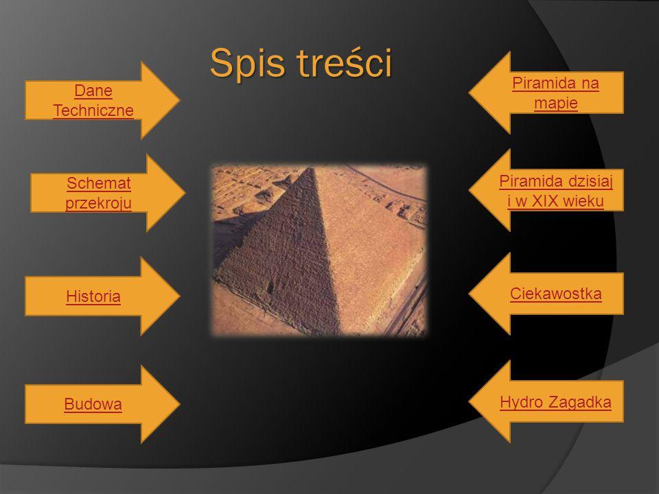 Spis treści Dane Techniczne Schemat przekroju Historia Budowa Piramida na mapie Piramida dzisiaj i w XIX wieku Ciekawostka Hydro Zagadka