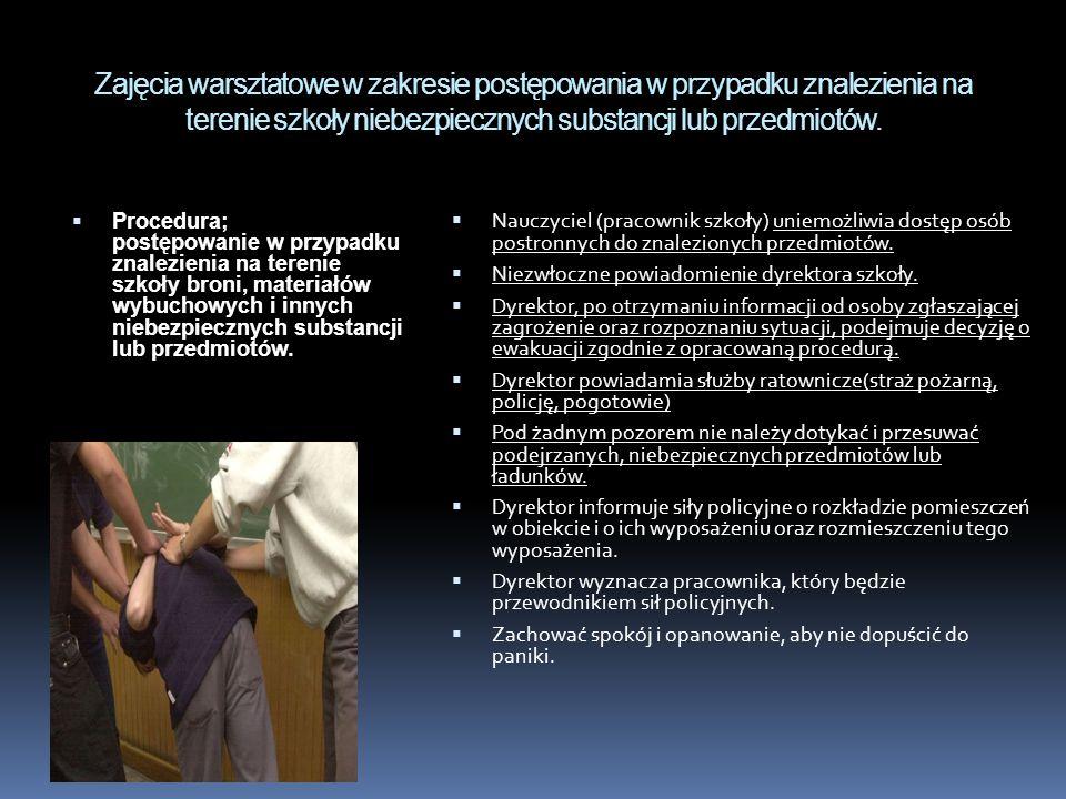 Zajęcia warsztatowe w zakresie postępowania w przypadku znalezienia na terenie szkoły niebezpiecznych substancji lub przedmiotów.  Procedura; postępo