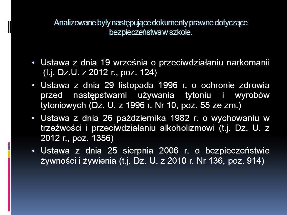 Analizowane były następujące dokumenty prawne dotyczące bezpieczeństwa w szkole. Ustawa z dnia 19 września o przeciwdziałaniu narkomanii (t.j. Dz.U. z