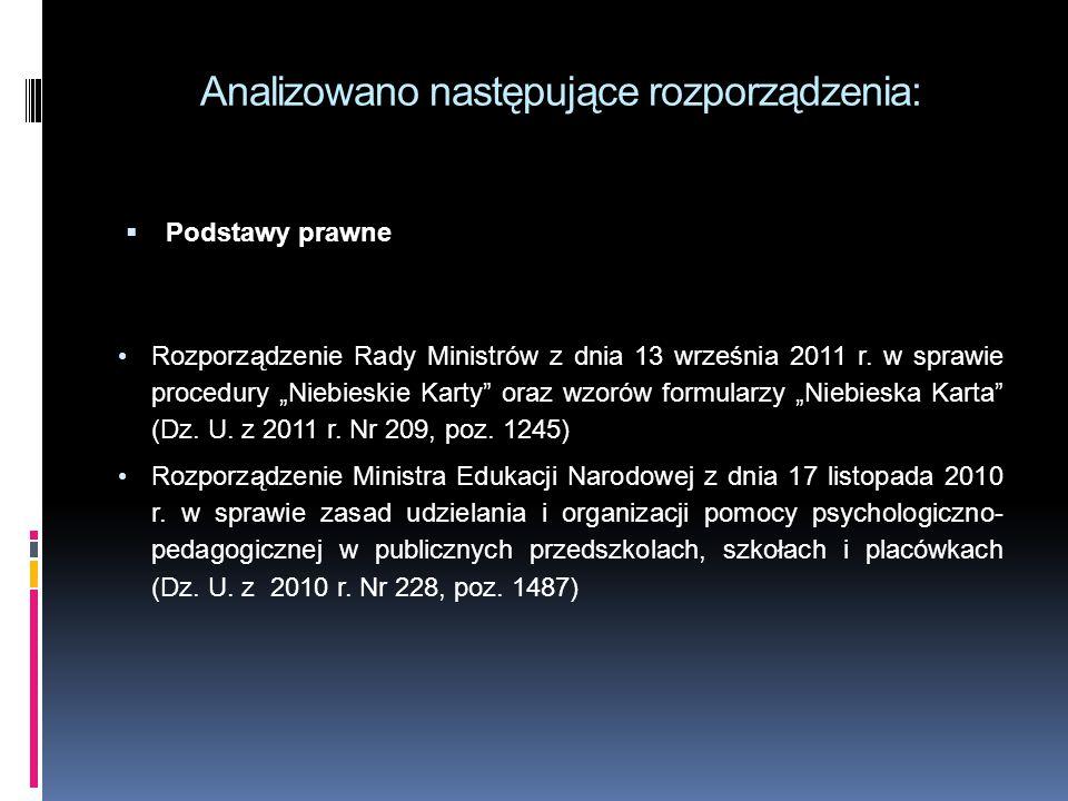 """Analizowano następujące rozporządzenia:  Podstawy prawne Rozporządzenie Rady Ministrów z dnia 13 września 2011 r. w sprawie procedury """"Niebieskie Kar"""