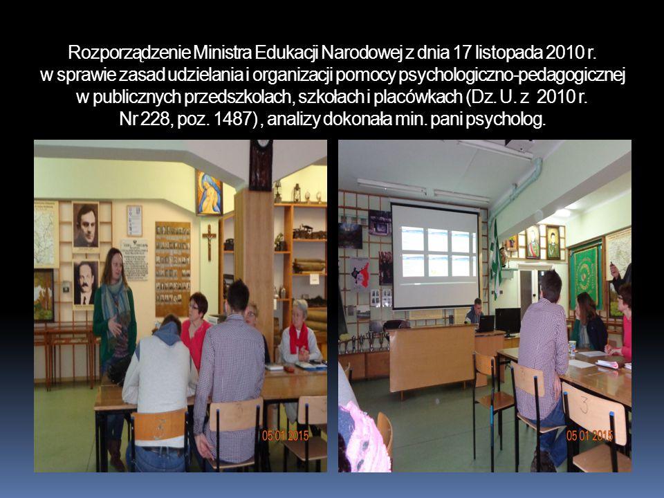 Rozporządzenie Ministra Edukacji Narodowej z dnia 17 listopada 2010 r. w sprawie zasad udzielania i organizacji pomocy psychologiczno-pedagogicznej w