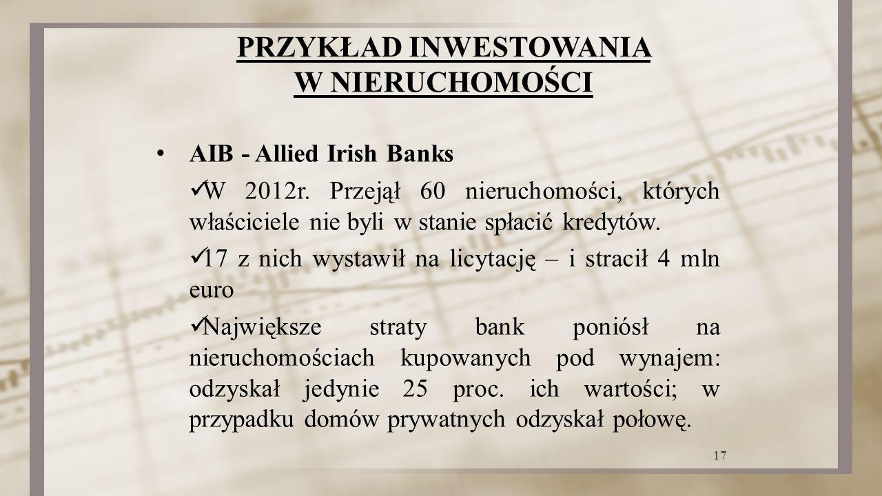 PRZYKŁAD INWESTOWANIA W NIERUCHOMOŚCI AIB - Allied Irish Banks W 2012r. Przejął 60 nieruchomości, których właściciele nie byli w stanie spłacić kredyt