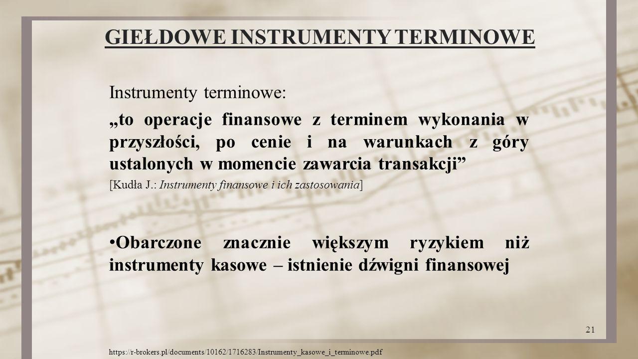 """GIEŁDOWE INSTRUMENTY TERMINOWE Instrumenty terminowe: """"to operacje finansowe z terminem wykonania w przyszłości, po cenie i na warunkach z góry ustalo"""
