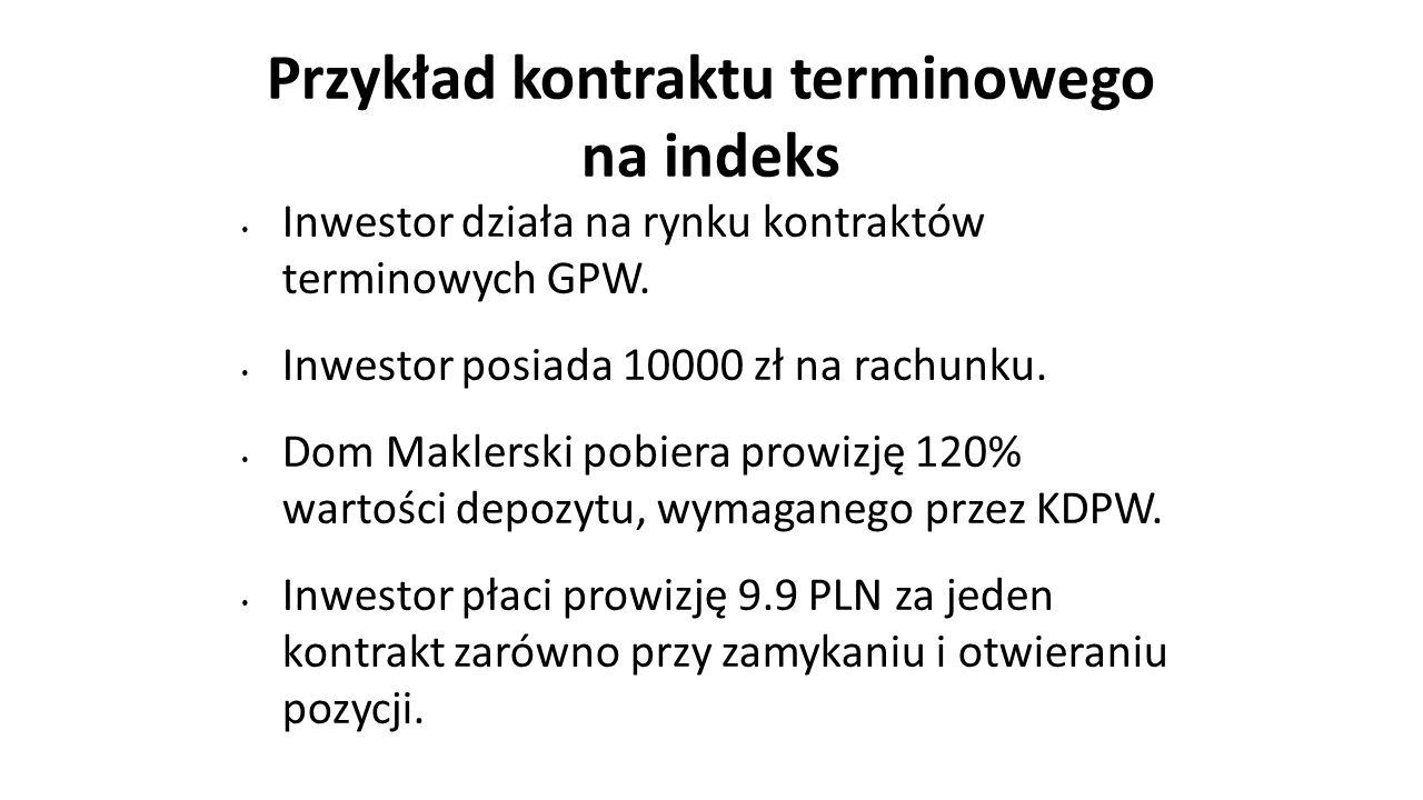 Przykład kontraktu terminowego na indeks Inwestor działa na rynku kontraktów terminowych GPW. Inwestor posiada 10000 zł na rachunku. Dom Maklerski pob