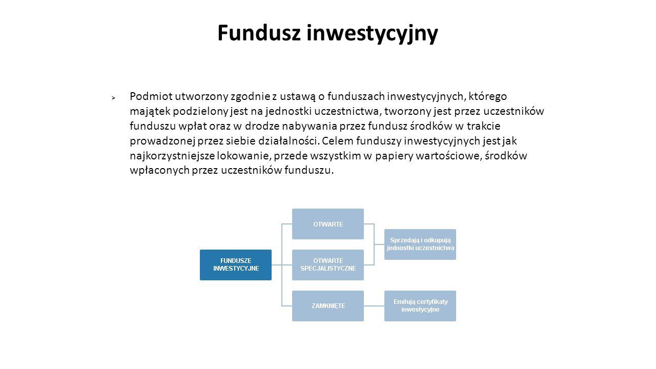 Fundusz inwestycyjny  Podmiot utworzony zgodnie z ustawą o funduszach inwestycyjnych, którego majątek podzielony jest na jednostki uczestnictwa, twor