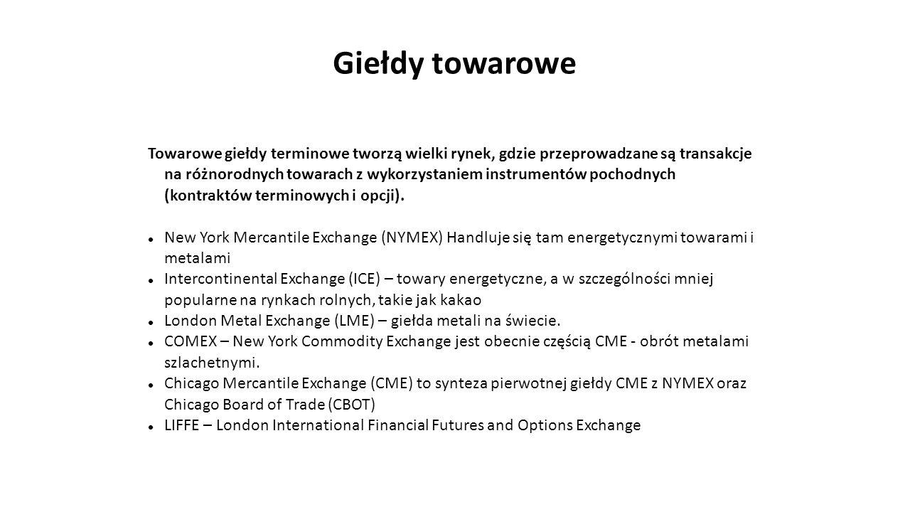 Inwestowanie w towary giełdowe Instrumenty służące do inwestowania w towary giełdowe:  Tytuły uczestnictwa  Instrumenty oparte na towarach  Instrumenty pochodne (opcje i kontrakty terminowe)  Akcje spółek funkcjonujących w sektorze surowcowym