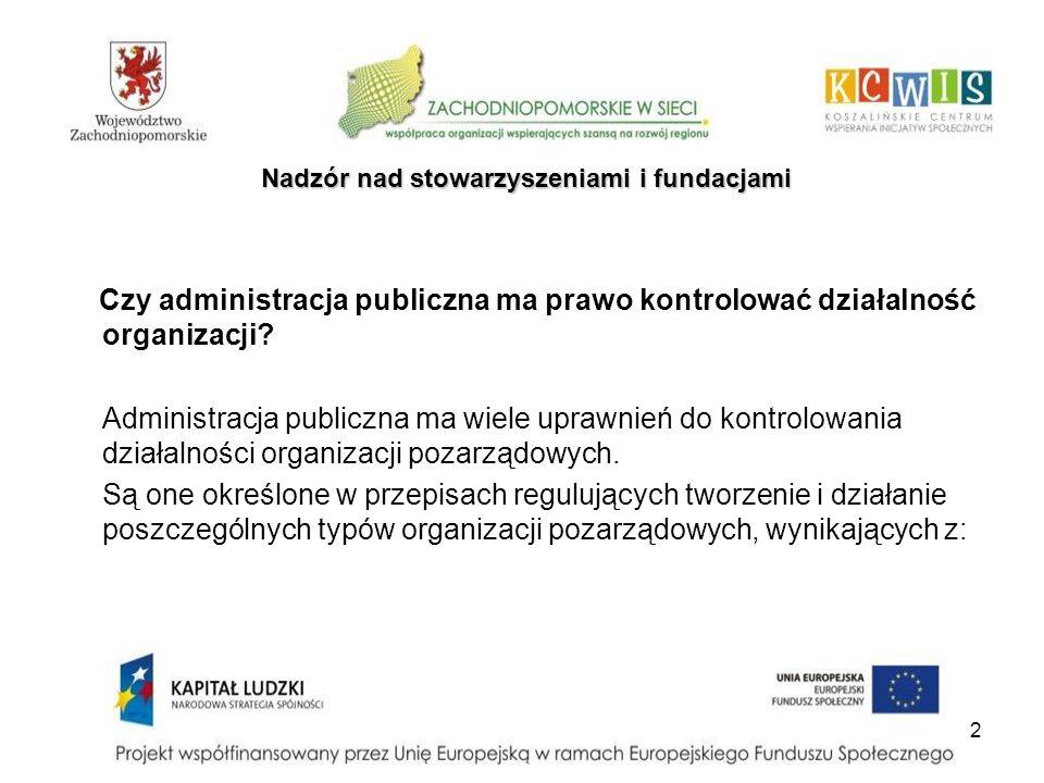 2 Nadzór nad stowarzyszeniami i fundacjami Czy administracja publiczna ma prawo kontrolować działalność organizacji? Administracja publiczna ma wiele