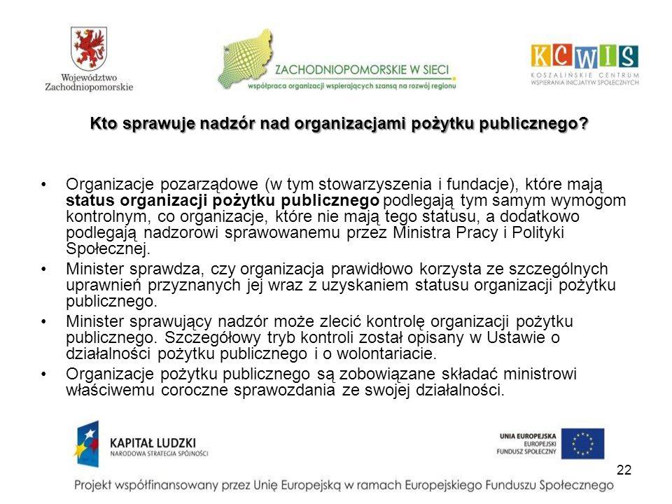 22 Organizacje pozarządowe (w tym stowarzyszenia i fundacje), które mają status organizacji pożytku publicznego podlegają tym samym wymogom kontrolnym