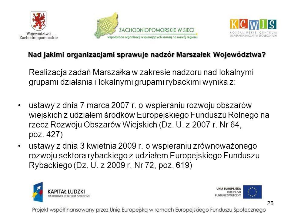 Nad jakimi organizacjami sprawuje nadzór Marszałek Województwa? Realizacja zadań Marszałka w zakresie nadzoru nad lokalnymi grupami działania i lokaln