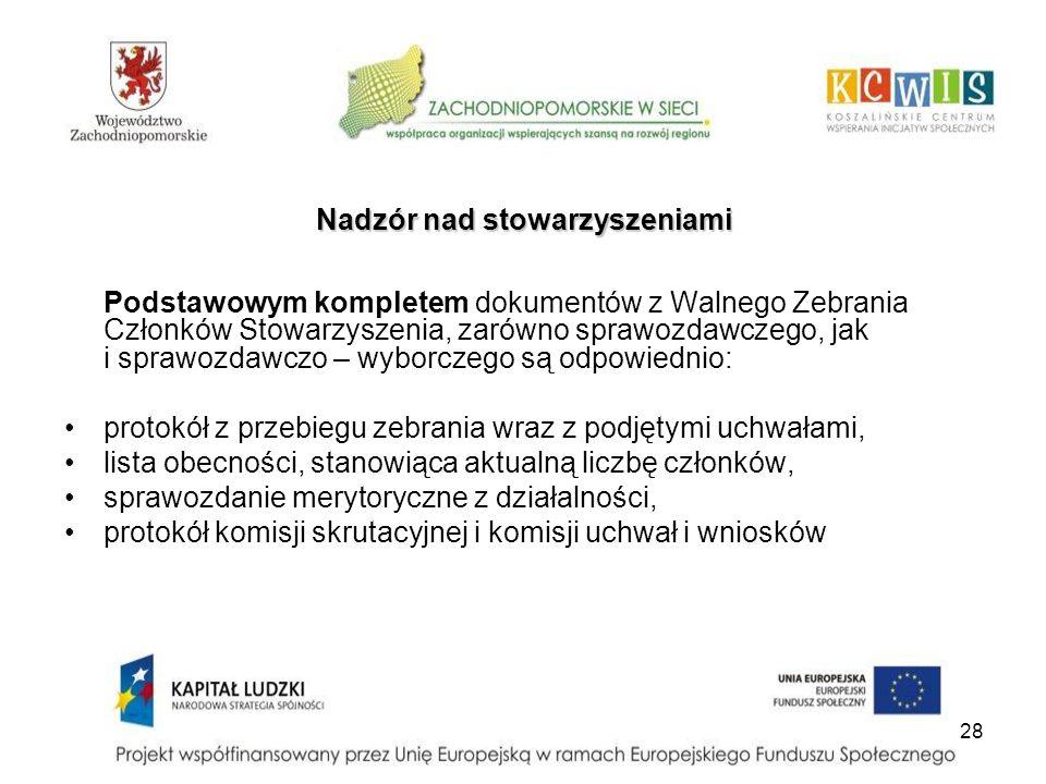 28 Nadzór nad stowarzyszeniami Podstawowym kompletem dokumentów z Walnego Zebrania Członków Stowarzyszenia, zarówno sprawozdawczego, jak i sprawozdawc