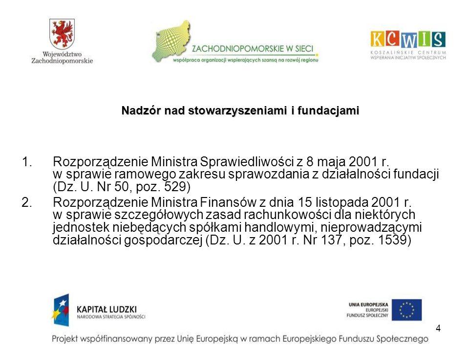 Nadzór nad stowarzyszeniami i fundacjami 1.Rozporządzenie Ministra Sprawiedliwości z 8 maja 2001 r. w sprawie ramowego zakresu sprawozdania z działaln