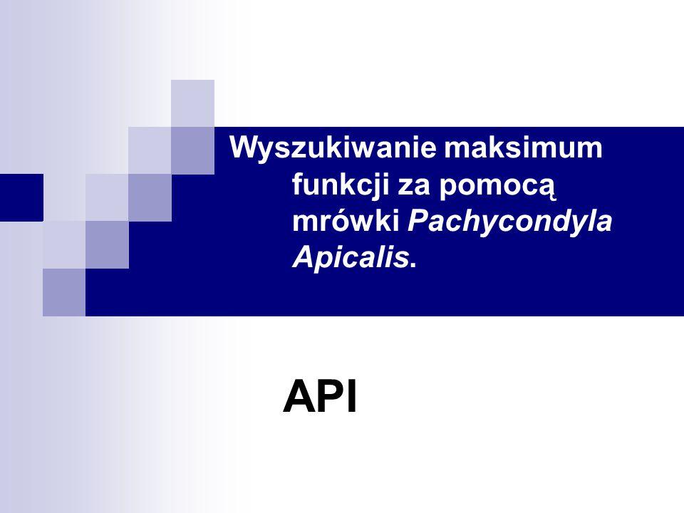 Wyszukiwanie maksimum funkcji za pomocą mrówki Pachycondyla Apicalis. API