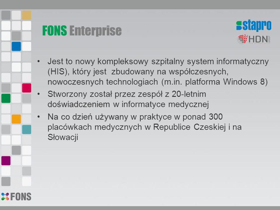 FONS Enterprise kompleksowy nowoczesnychJest to nowy kompleksowy szpitalny system informatyczny (HIS), który jest zbudowany na współczesnych, nowoczes