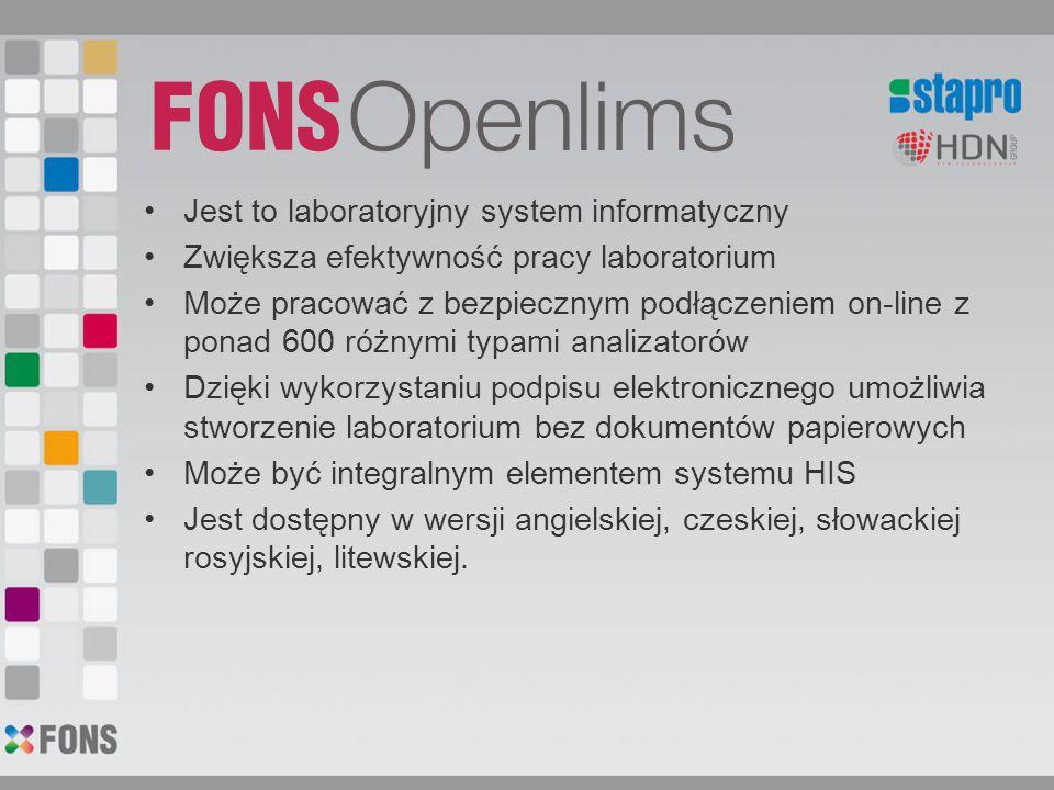 Jest to laboratoryjny system informatyczny Zwiększa efektywność pracy laboratorium Może pracować z bezpiecznym podłączeniem on-line z ponad 600 różnymi typami analizatorów Dzięki wykorzystaniu podpisu elektronicznego umożliwia stworzenie laboratorium bez dokumentów papierowych Może być integralnym elementem systemu HIS Jest dostępny w wersji angielskiej, czeskiej, słowackiej rosyjskiej, litewskiej.