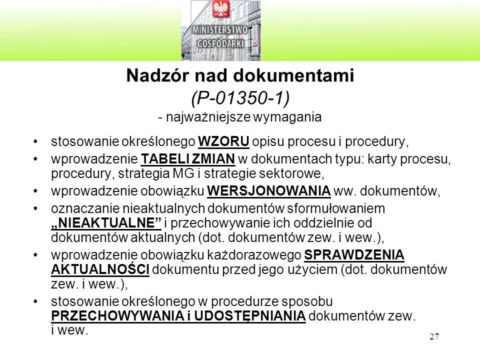 27 Nadzór nad dokumentami (P-01350-1) - najważniejsze wymagania stosowanie określonego WZORU opisu procesu i procedury, wprowadzenie TABELI ZMIAN w dokumentach typu: karty procesu, procedury, strategia MG i strategie sektorowe, wprowadzenie obowiązku WERSJONOWANIA ww.