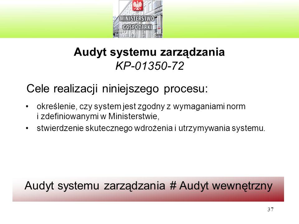 37 Audyt systemu zarządzania KP-01350-72 określenie, czy system jest zgodny z wymaganiami norm i zdefiniowanymi w Ministerstwie, stwierdzenie skutecznego wdrożenia i utrzymywania systemu.