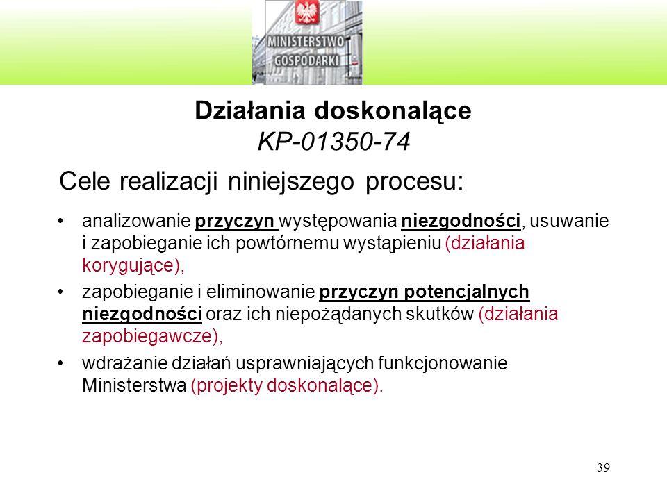 39 Działania doskonalące KP-01350-74 Cele realizacji niniejszego procesu: analizowanie przyczyn występowania niezgodności, usuwanie i zapobieganie ich powtórnemu wystąpieniu (działania korygujące), zapobieganie i eliminowanie przyczyn potencjalnych niezgodności oraz ich niepożądanych skutków (działania zapobiegawcze), wdrażanie działań usprawniających funkcjonowanie Ministerstwa (projekty doskonalące).