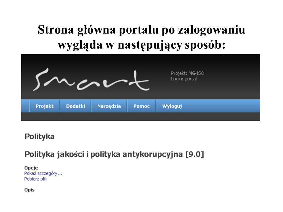 50 Strona główna portalu po zalogowaniu wygląda w następujący sposób:
