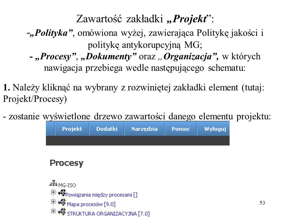 """53 Zawartość zakładki """"Projekt : - """"Polityka , omówiona wyżej, zawierająca Politykę jakości i politykę antykorupcyjną MG; - """"Procesy , """"Dokumenty oraz """"Organizacja , w których nawigacja przebiega wedle następującego schematu: 1."""
