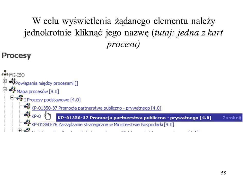55 W celu wyświetlenia żądanego elementu należy jednokrotnie kliknąć jego nazwę (tutaj: jedna z kart procesu)