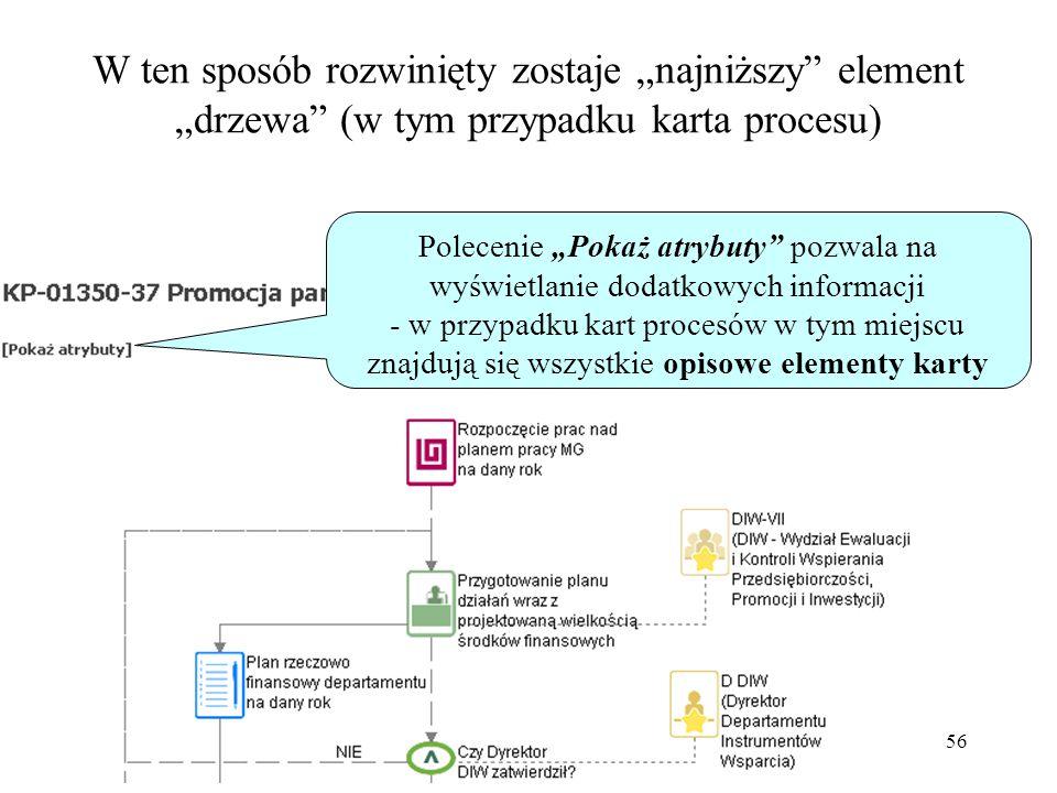 """56 W ten sposób rozwinięty zostaje """"najniższy element """"drzewa (w tym przypadku karta procesu) Polecenie """"Pokaż atrybuty pozwala na wyświetlanie dodatkowych informacji - w przypadku kart procesów w tym miejscu znajdują się wszystkie opisowe elementy karty"""
