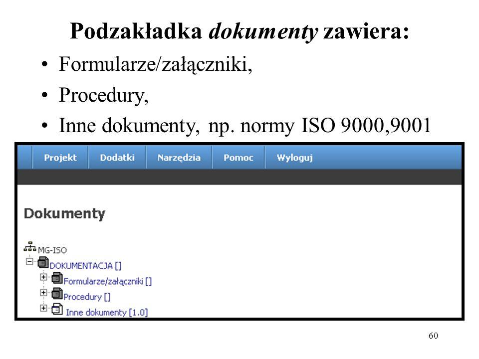 60 Podzakładka dokumenty zawiera: Formularze/załączniki, Procedury, Inne dokumenty, np.