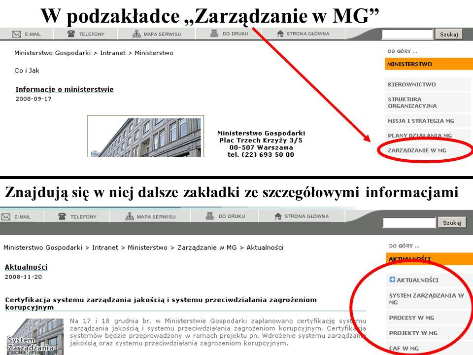 """67 W podzakładce """"Zarządzanie w MG Znajdują się w niej dalsze zakładki ze szczegółowymi informacjami"""
