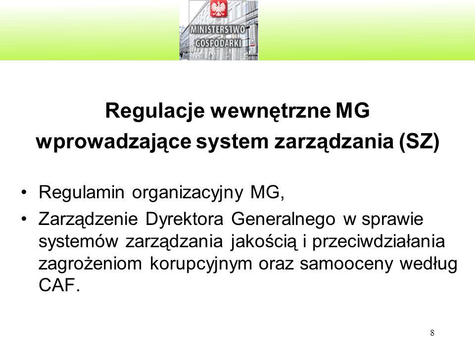 8 Wewnętrzne akty prawne dotyczące systemu zarządzania Regulamin organizacyjny MG, Zarządzenie Dyrektora Generalnego w sprawie systemów zarządzania jakością i przeciwdziałania zagrożeniom korupcyjnym oraz samooceny według CAF.