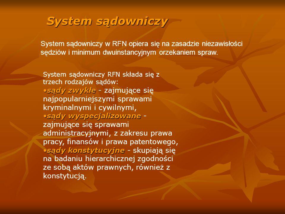 System sądowniczy System sądowniczy w RFN opiera się na zasadzie niezawisłości sędziów i minimum dwuinstancyjnym orzekaniem spraw. System sądowniczy R
