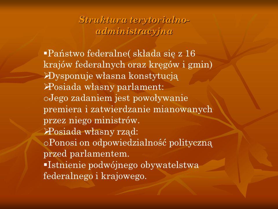 Struktura terytorialno- administ r acyjna  Państwo federalne( składa się z 16 krajów federalnych oraz kręgów i gmin)  Dysponuje własna konstytucją 