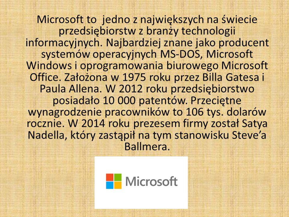 Microsoft w Polsce Polski oddział Microsoftu został zarejestrowany w 1992 jako Microsoft spółka z o.o.W pierwszych miesiącach istnienia polskiego oddziału przedsiębiorstwo sprzedawało głównie system operacyjny MS-DOS.