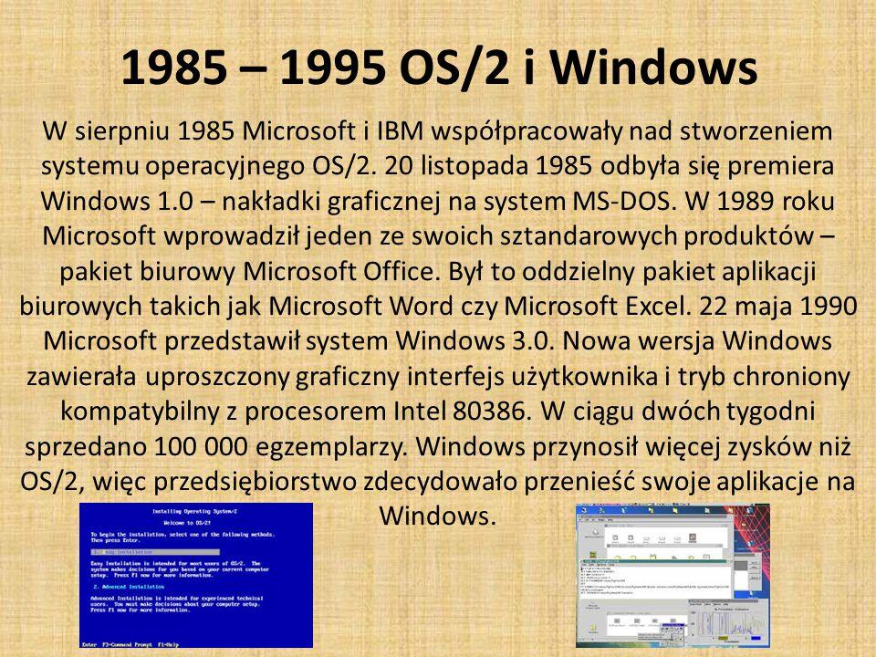1985 – 1995 OS/2 i Windows W sierpniu 1985 Microsoft i IBM współpracowały nad stworzeniem systemu operacyjnego OS/2.