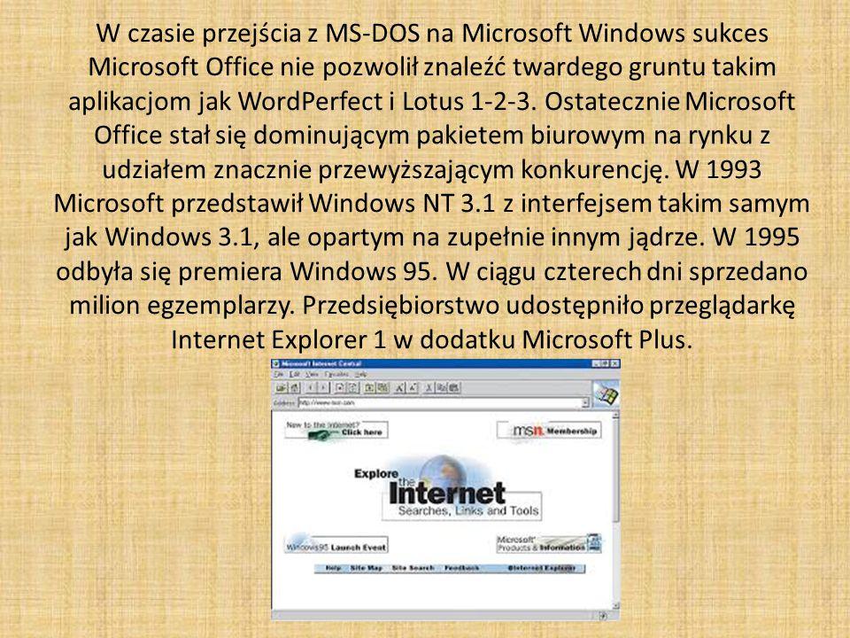 W czasie przejścia z MS-DOS na Microsoft Windows sukces Microsoft Office nie pozwolił znaleźć twardego gruntu takim aplikacjom jak WordPerfect i Lotus 1-2-3.