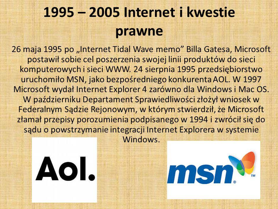 """1995 – 2005 Internet i kwestie prawne 26 maja 1995 po """"Internet Tidal Wave memo Billa Gatesa, Microsoft postawił sobie cel poszerzenia swojej linii produktów do sieci komputerowych i sieci WWW."""