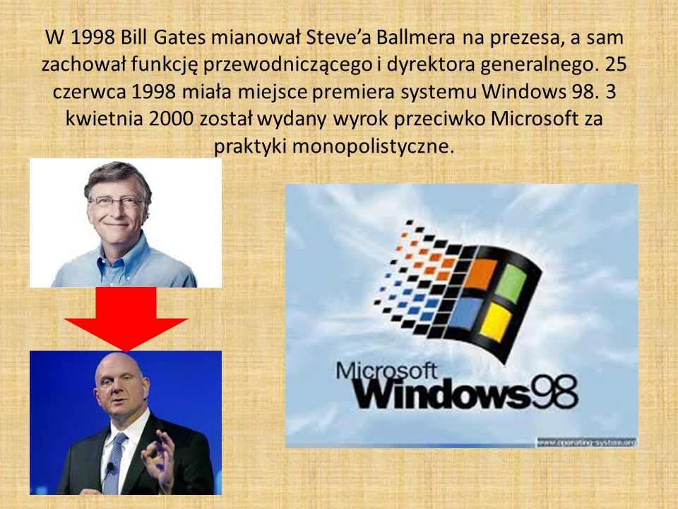 W 1998 Bill Gates mianował Steve'a Ballmera na prezesa, a sam zachował funkcję przewodniczącego i dyrektora generalnego.