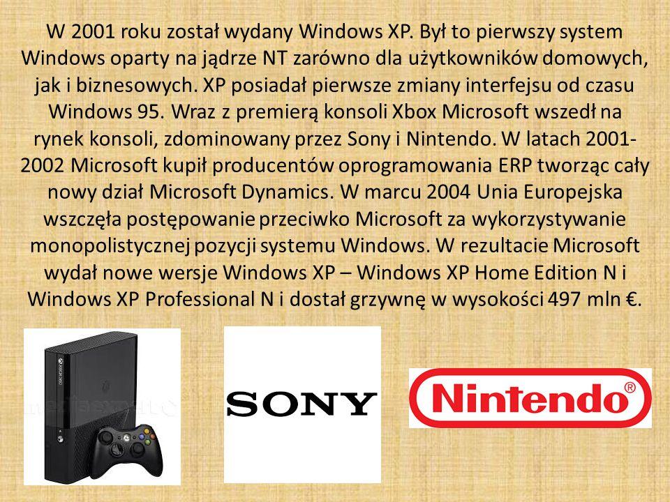 W 2001 roku został wydany Windows XP.