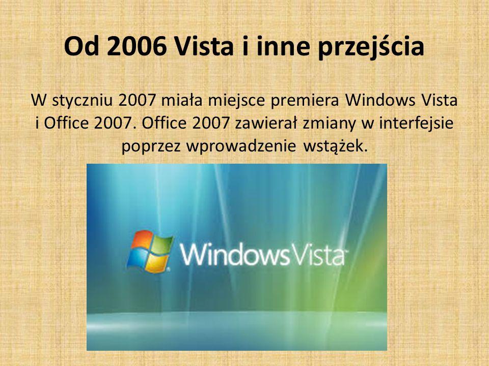Od 2006 Vista i inne przejścia W styczniu 2007 miała miejsce premiera Windows Vista i Office 2007.